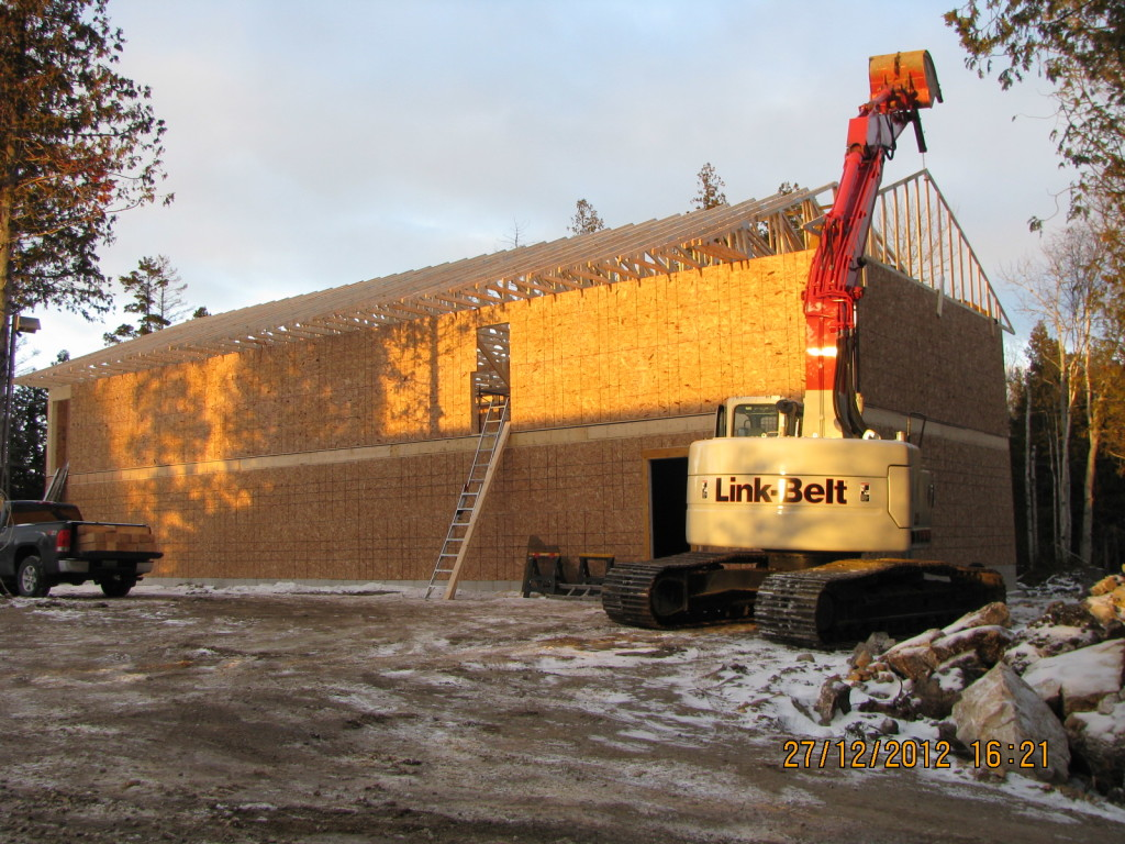 About us, Installing Trusses, Framing in a Tobermory Winter, Escarpment Heights Motel, Tobermory, Bruce Peninsula, glass bottom boat cruises, boat tours, Legion Street, Hay Bay Road, close to Tobermory, brand new motel, best value, great place to stay
